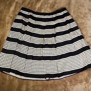 Talbots Navy&White Polka Dot Stripes Skirt Sz 16WP